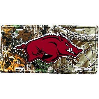 Arkansas Razorbacks NCAA Camo License Plate
