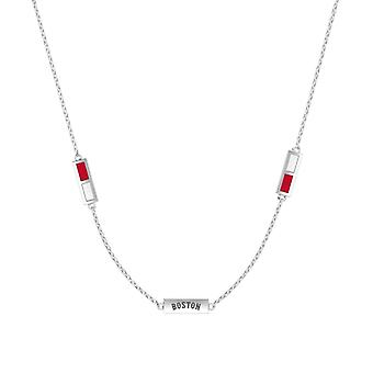 Boston Red Sox Sterling Silver Engraved Triple Station Necklace In Red and White