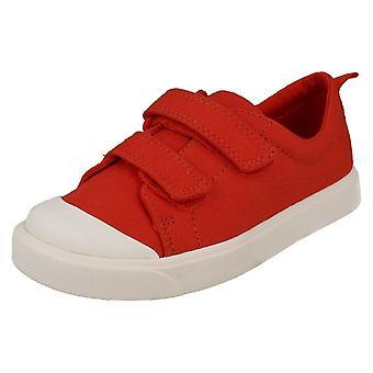 Para niños chicos chicas Clarks patrón detallado lienzo zapatos ciudad llamarada Lo T