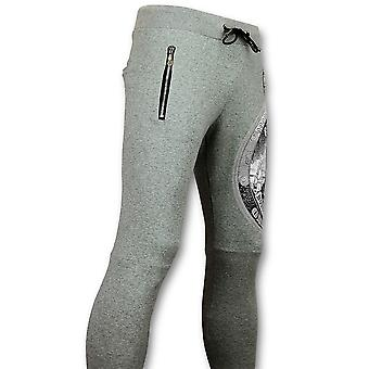 Casual Sweatpants - Tracksuit Bottoms Print Skull - Grey
