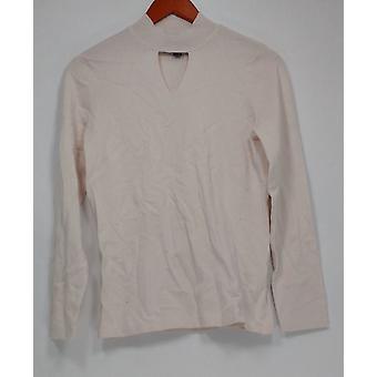 Dennis Basso kvinner ' s genser XXS mock Neck m/cut ut detalj beige A299642