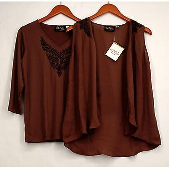 Bob Mackie's Top Lace Embroidered Vest & Knit Top Set Cocoa Brown A268382