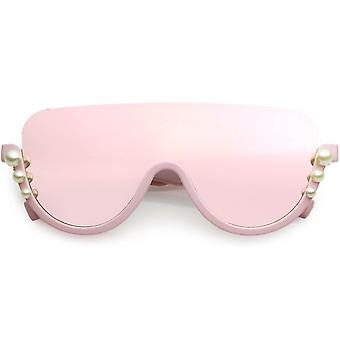 Oversize Bold Shield Semi-Rimless Embellished Pearl Accent Sunglasses
