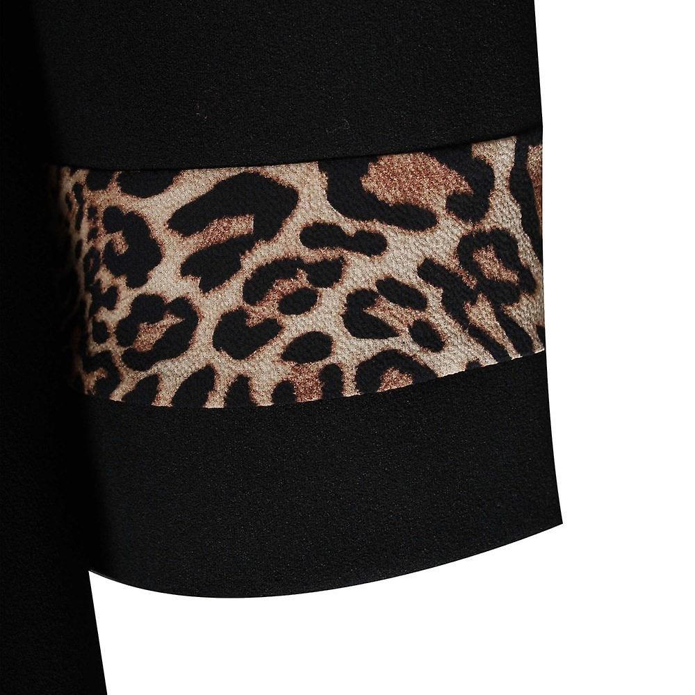 Latte Leopard Detail A-line Long Sleeve Dress 3pKlqI