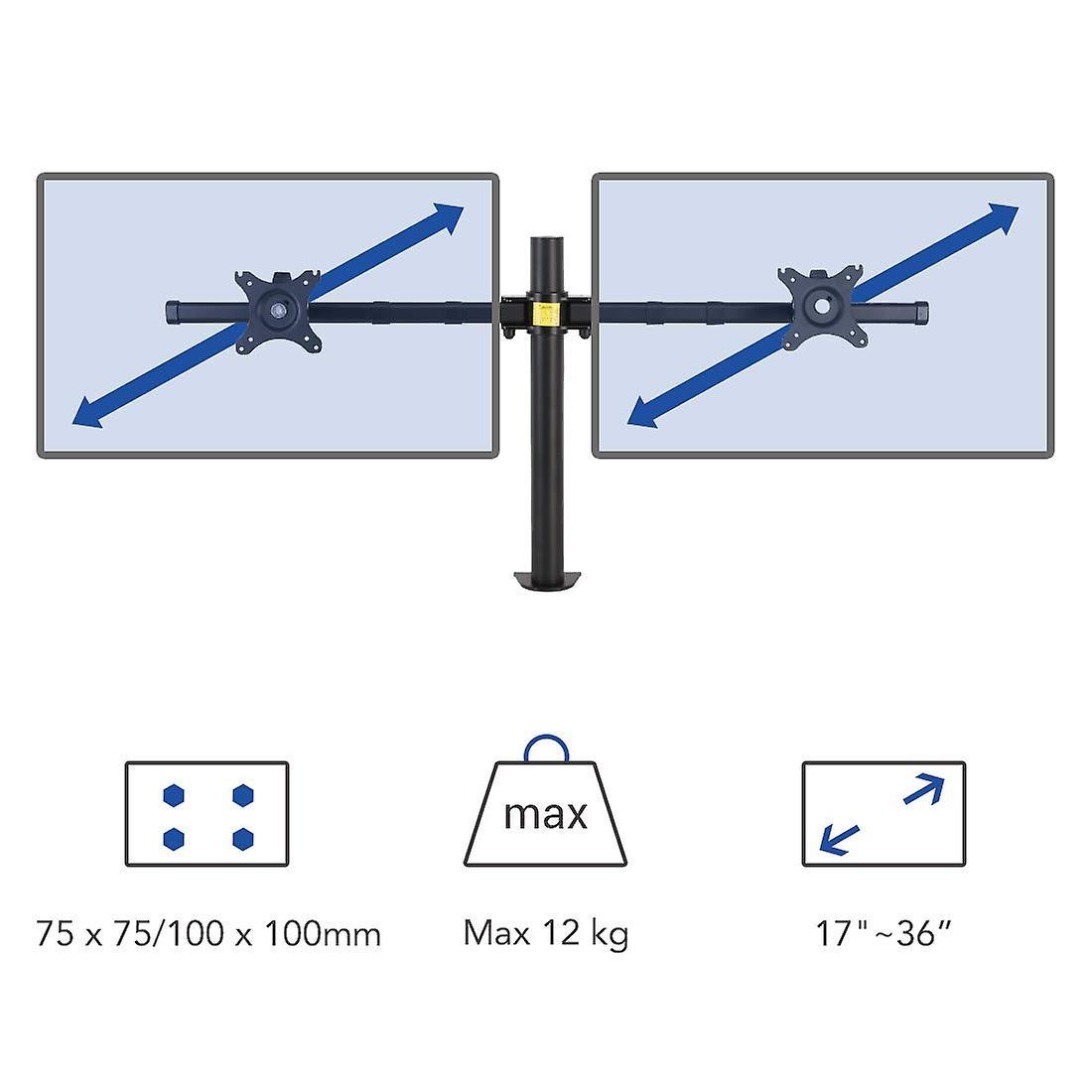 Fleximtellingen D1DP Full Motion dual arm Bureau monitor mount stand past 17