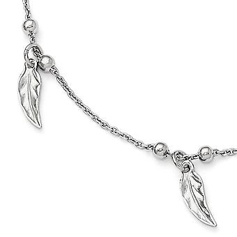 925 Sterling Silver Polished Feather Anklet With 1inch Ext - 3.8 Grams - 9 Inch