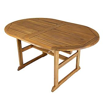 Charles Bentley FSC Acacia Hardwood Oval Extendable Table With Central Parasol Hole -  L150/200 x W100 X H75 cm