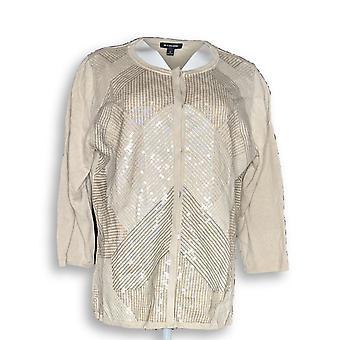 H door Halston vrouwen ' s trui Special Edition Art Deco Sequin beige A287136