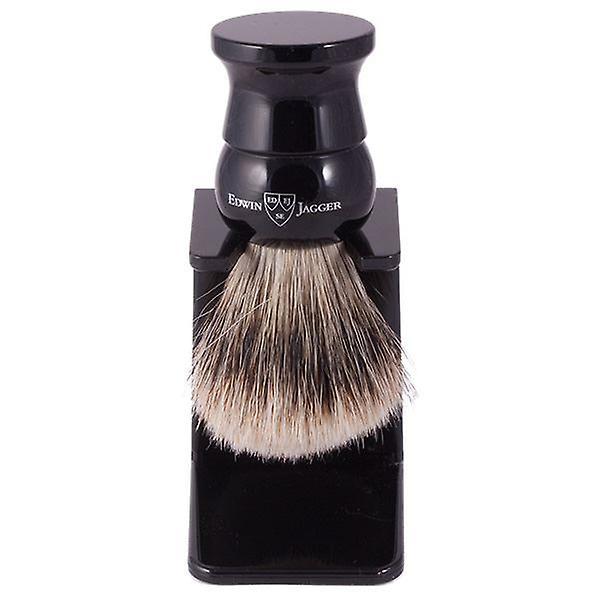 Edwin Jagger Super Badger Brush Imitation Ebony Medium + Drip Stand