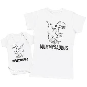 Babyasaurus & Mummyasaurus Matching Mother Baby Gift Set - Womens T Shirt & Baby Bodysuit