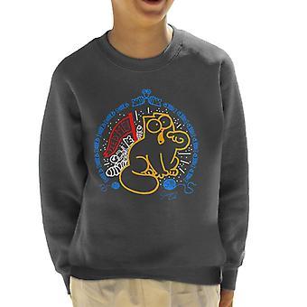 Simon's Cat Feed Me Fish Pattern Kid's Sweatshirt