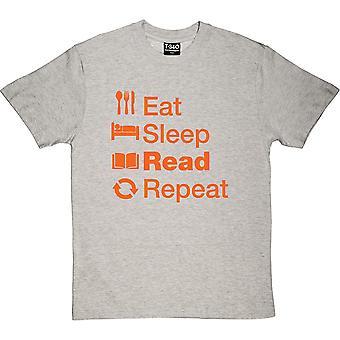 Essen Schlaf lesen Wiederholen Sport Grau Männer's T-Shirt