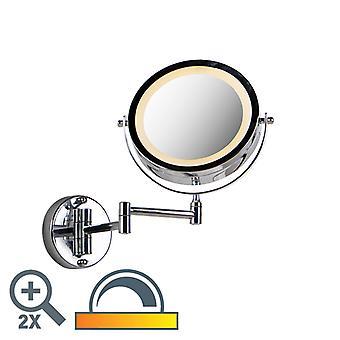 QAZQA Runder Wandspiegel Chrom auf Batterien x2 - Vicino