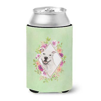 White Pit Bull Terrier Green Flowers Can or Bottle Hugger