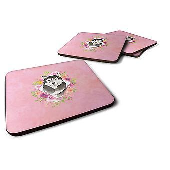 Set of 4 Alaskan Malamute Pink Flowers Foam Coasters Set of 4