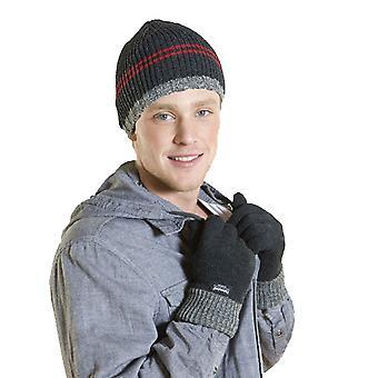 Novo chapéu listrado do gorro da qualidade dos homens e jogo térmico morno do inverno da luva grossa