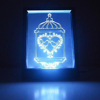 Two Love Birds Cage Colour Changing Remote Control LED Light Frame