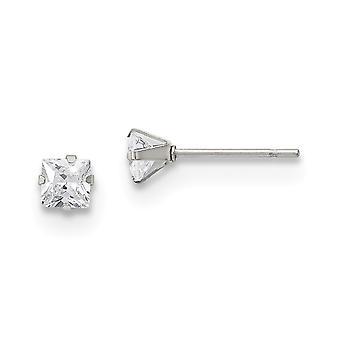 Rostfritt stål polerad 4mm Square CZ Cubic Zirconia Simulerad Diamond Stud Post Örhängen Smycken Gåvor för kvinnor