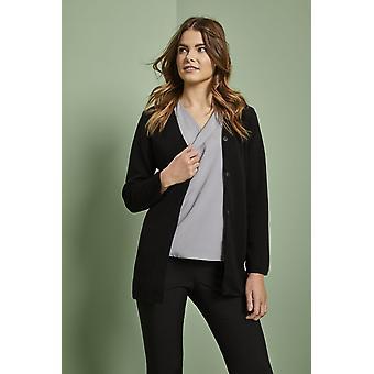 SIMON JERSEY Women's Longline Straight Cardigan, Black