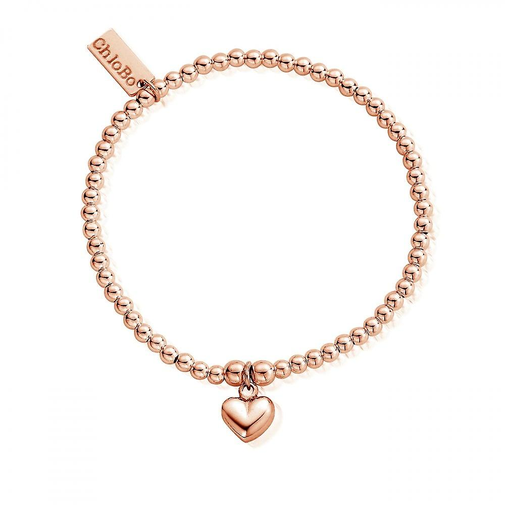ChloBo Rose Gold Cute Charm Puffed Heart Bracelet