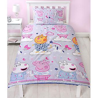 Peppa Pig Greta Gris Sleep Duvet Cover Bed Set Reversible 135x200+48x74cm