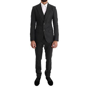 Dolce & Gabbana Gray paski dwa guziki 3-częściowy garnitur