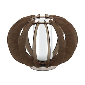 Eglo - Stellato 3 Single Light Table Lamp In Dark Brown Wood And White Finish EG95595
