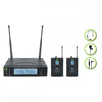 Q-ακουστικός Q-ακουστικός Qwm1960bp διπλός UHF Bodypack σύστημα-Ch38
