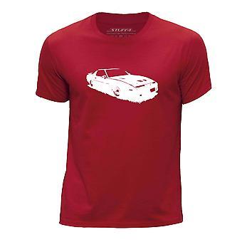 STUFF4 Boy's Round Neck T-Shirt/Stencil Car/Firebird Trans Am GTA/Red