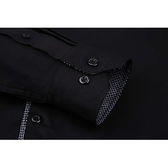 Alex Vando Mens Dress Camasi cu maneca lunga Regular Fit Casual Men Shirt (Negru, L...