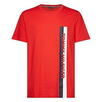 Tommy Hilfiger Cotton Jersey Logotipo Crew Neck T-Shirt, Red Glare, X-Large