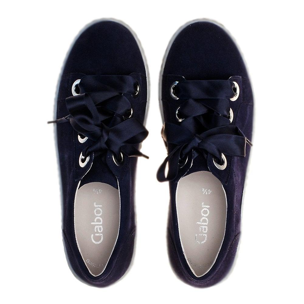Gabor Wright Lace Up Sneakers In Navy Suede