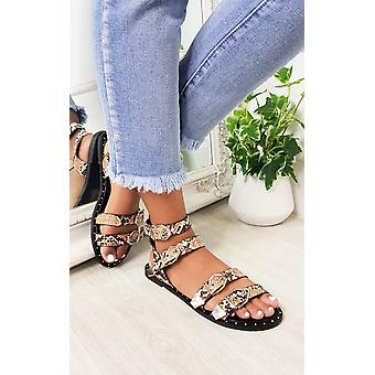IKRUSH Womens Tillie Double Strap Studded Sandals