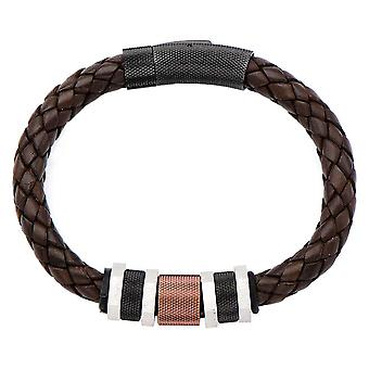Braided browmen's leather strap with bead stainless steel