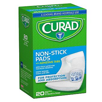 Curad telfa non-stick pads with adhesive tabs, 2 inch x 3 inch, 20 ea