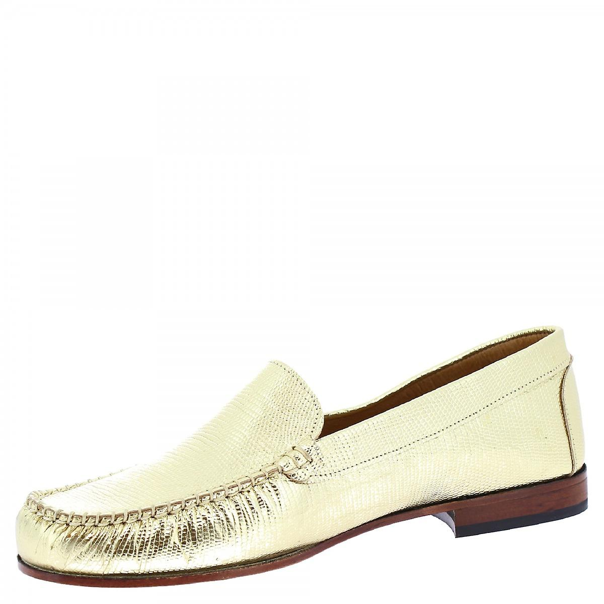 Leonardo Shoes Women-apos;s handmade slip on loafers shoes gold laminated leather cQ5Gr2