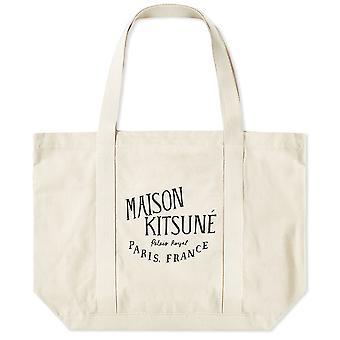 Maison Kitsuné Au05100ww0008ecbk Kvinnor's White Fabric Tote