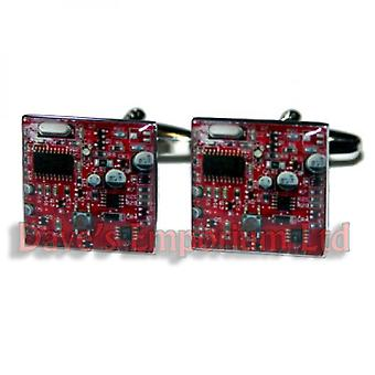 Red Circuit Board Cufflinks - Gift Boxed - Geek PC Support CPU Chip Motherboard