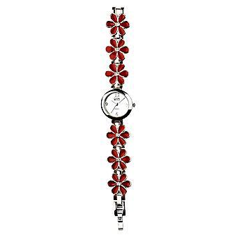 Eton rojo esmalte flor eslabones pulsera reloj 3165L-RD