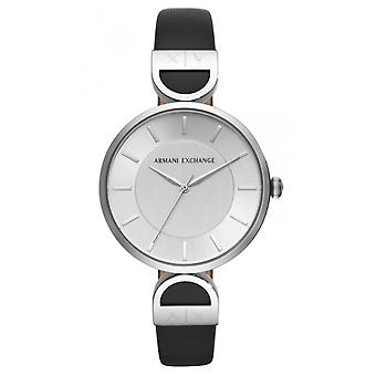 Watch Armani Exchange Watches AX5323 - Black Leather Watch Bo tier Steel Woman