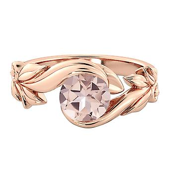 14K Rose Gold 1,50 CT naturlige fersken/Rosa VS Morganite Ring blomst blade Designer