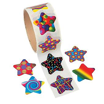 Roll of 100 Star Stickers for Kids Crafts