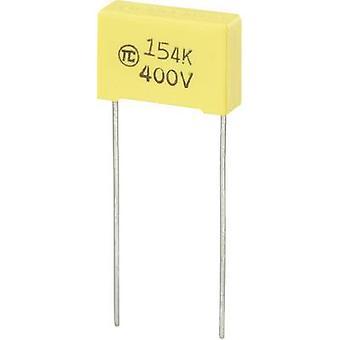 רכיבי טרו 1 pc (עם) חברי הכנסת הסרט רזה לקבל מוקדי להוביל 0.15 μF 400 V DC 5% מילימטר (L x W x H) 18 x 6 x 12 מ
