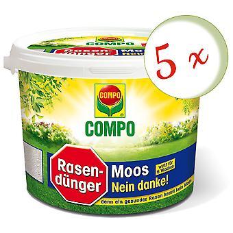 Sparset: 5 x COMPO Lawn Fertilizer Moss - No thanks!, 7.5 kg