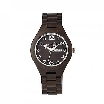 Earth Wood Sapwood Bracelet Watch w/Date - Dark Brown