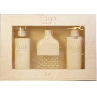 FCUK Friction Her Gift Set 100ml EDT + 250ml Body Lotion + 250ml Fragrance Mist