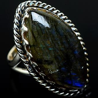 Large Labradorite Ring Size 6.25 (925 Sterling Silver)  - Handmade Boho Vintage Jewelry RING11616