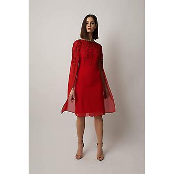 Röd gracie cape klänning
