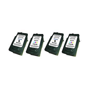 RudyTwos 2 x Ersatz für Canon PG-512 CL-513 Set Tinte Einheit schwarz & Tri-Color kompatibel mit Pixma iP2700, iP2702, MP230, MP235, MP240, MP250, MP252, MP260, MP270, MP272, MP280, MP282, MP480, MP490