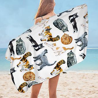 Cats Pattern Microfiber Beach Towel